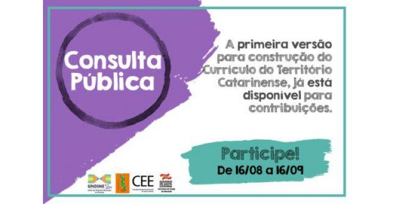 Participe da Consulta Pública para construção do Currículo do Território Catarinense